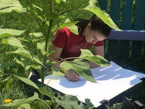 girl drawing in garden